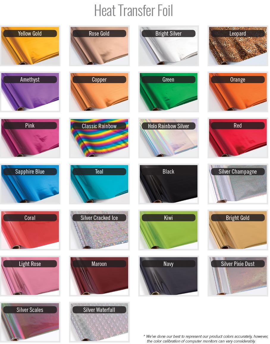 Heat Transfer Foil Color Chart
